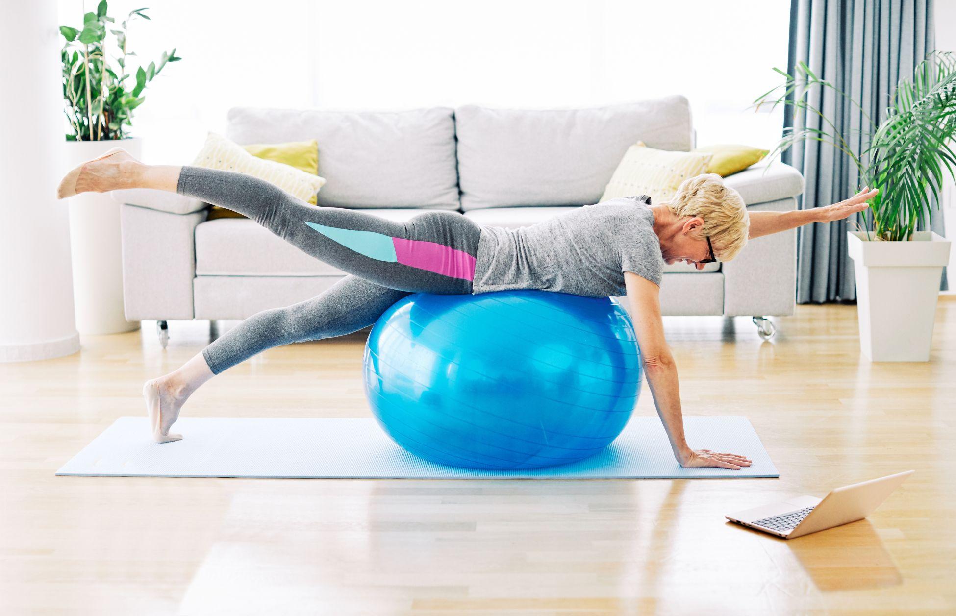 Women on exercise ball