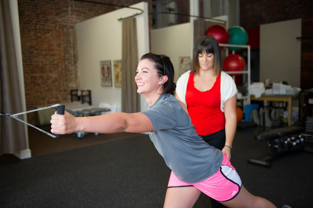 Woman exercising with bands