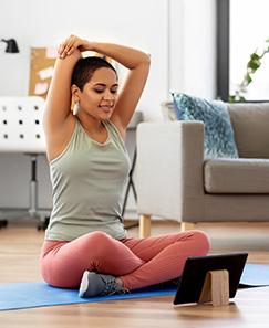 Telehealth stretching sitting down